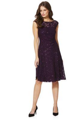 Roman Originals Sequin Lace Skater Dress 16 Purple
