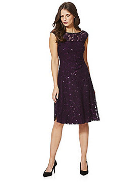 Roman Originals Sequin Lace Skater Dress - Purple
