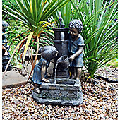 Boy & Girl Hand Pump Garden Water Feature