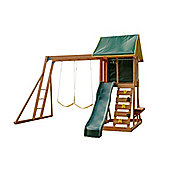 Selwood Meadowside II Climbing Frame - Slide, Rockwall & Swings