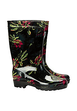 Mountain Warehouse Splash Floral Womens Wellies - Black