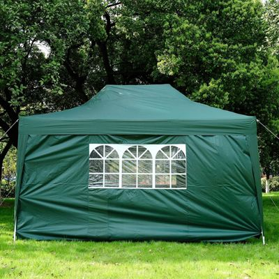 Outsunny 3m x 4.5m Pop Up Gazebo Party Marquee +Storage Bag (Green)