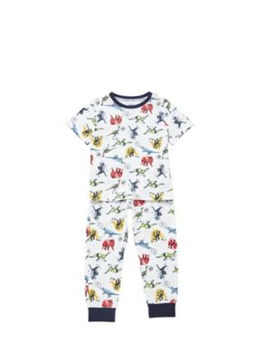 F&F Dinosaur Print Pyjamas White 6-7 years