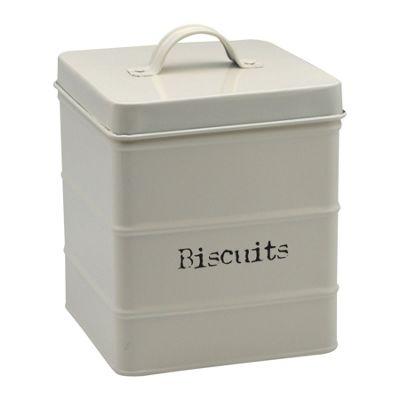 Harbour Housewares Metal Biscuit Tin - Cream