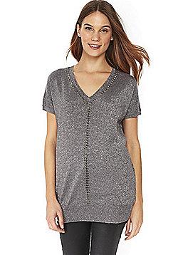 Wallis Embellished Metallic Knit Tunic - Grey & Silver