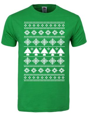 Christmas Tree Seasonal Patterned Green Men's T-shirt