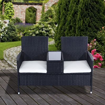 Outsunny Garden Rattan 2 Seater Wicker Love Seat Bench w/ Cushions (Black)
