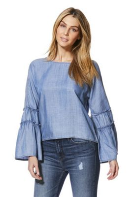 Only Wide Tiered Sleeve Chambray Denim Top Blue XL