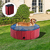 PawHut Pet Swimming Pool Indoor / Outdoor Bathing Tub Foldable (Φ100 x 30H (cm), Red)