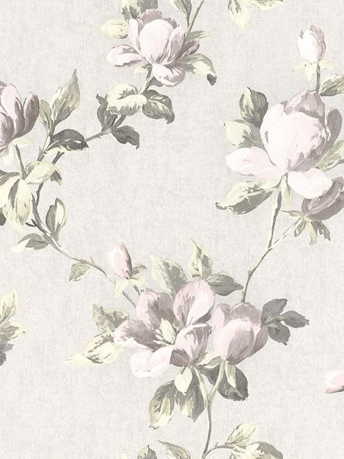 Emilia Rose Floral Wallpaper Cream And Pale Pink Rasch 502114