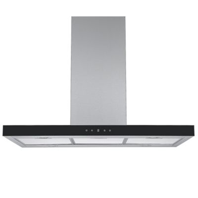 Cookology IDLINT901SS 90cm Linear Island Chimney Cooker Hood in Stainless Steel