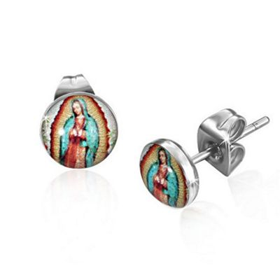 Urban Male Mary Icon Design Resin & Stainless Steel Men's Stud Earrings 7mm