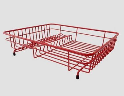 Delfinware Plastic Coated Medium Flat Rectangular Dish Sink Drainer in Red