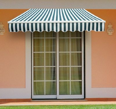 Outsunny 3m x 2.5m Garden Awning with Winding Handle in Green & White