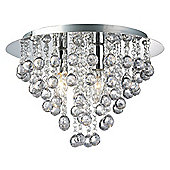 Modern 3 Bulb Chrome Ceiling Light with Clear Acrylic Balls and Beads