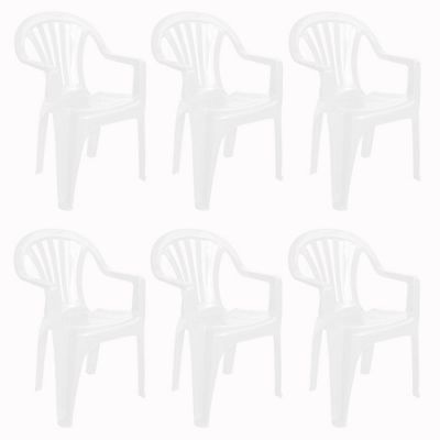 Resol Pals Plastic Home Garden Dining Armchair - White - Pack of 6