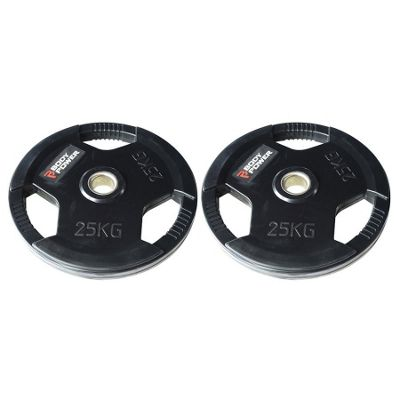 Body Power Rubber Enc Tri Grip Olympic (2 Inch) Weight Plates - 25Kg (x2)