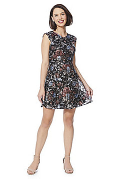 Mela London Floral Brocade Lace Fit and Flare Dress - Black & Multi