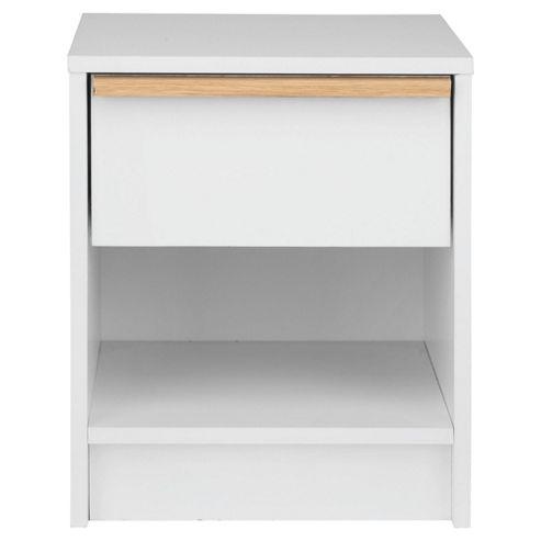 Trenton 1 Draw Bedside Table, White/Oak