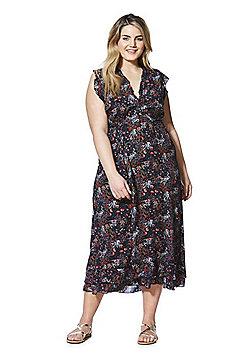 Izabel Curve Floral Print Plus Size Tea Dress - Black Multi