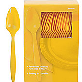 Yellow Plastic Spoons - 100 Pack