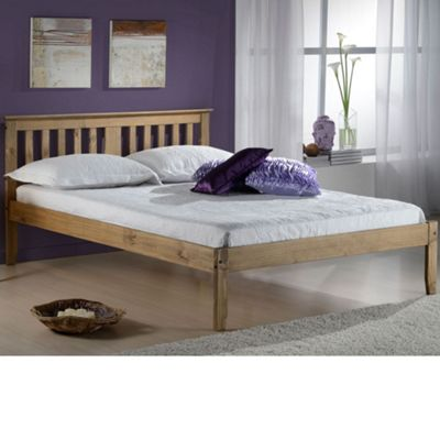 Happy Beds Salvador Wood Low Foot End Bed with Open Coil Spring Mattress - Pine - 4ft6 Double