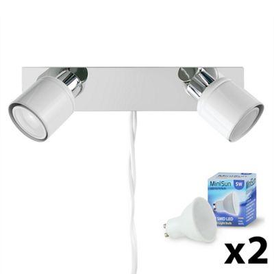 Benton Plug In LED Twin Spotlight with Cool White Bulbs
