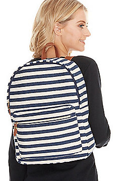 F&F Striped Canvas Backpack Navy/White One Size