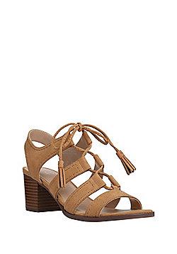 c84fe9217cf F F Block Heel Ghillie Sandals - Tan