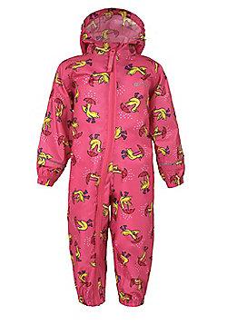 Puddle Kids Boys Girls Toddler Hooded Waterproof Rain Full Body Rainsuit - Pink