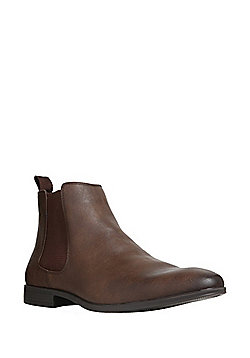 F&F Almond Toe Chelsea Boots - Brown