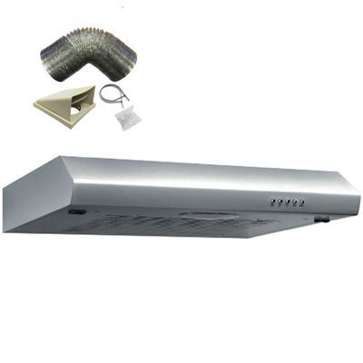 SIA ST60SS 60cm Visor Stainless Steel Cooker Hood Kitchen Extractor + 1m Ducting
