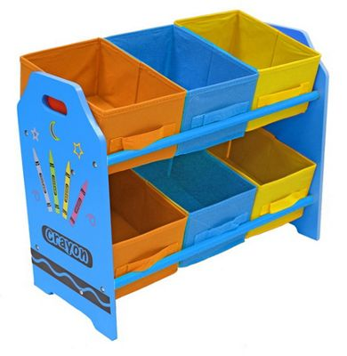 Kiddi Style Childrens Crayon Themed Wooden 6 Box Rack - Blue