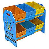 Kiddi Style Childrens Crayon Themed Wooden 6 Box Rack - Blue