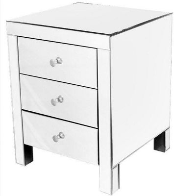 Home Essence Modal Mirrored 3 Drawer Bedside Table - Plain Glass