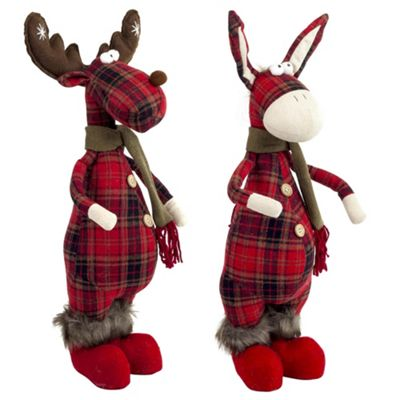 Pair of 50cm Standing Christmas Tartan Fabric Reindeer & Donkey Ornaments