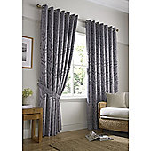 Tivoli Jacquard Leaf Eyelet Lined Curtains - Silver