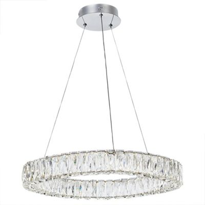 Litecraft Eternity LED Prism Bar Ceiling Pendant, Chrome and Glass