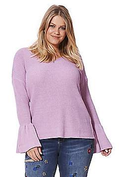 Simply Be Capsule Bell Sleeve V-Neck Jumper - Mauve