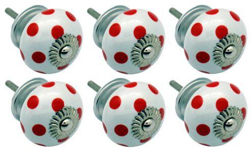 Ceramic Cupboard Drawer Knobs - Polka Dot Design - White / Red - Pack Of 6