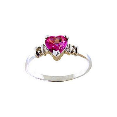 QP Jewellers Diamond & Pink Topaz Heart Ring in 14K White Gold - Size J