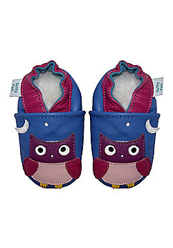 Dotty Fish Soft Leather Baby Shoe - Blue and Pink Night Owl - Blue