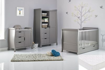Obaby Stamford Classic Cot Bed 4 Piece with Sprung Mattress Nursery Room Set - Warm Grey