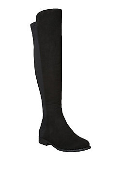 F&F Wide Fit Faux Suede Over The Knee Boots - Black