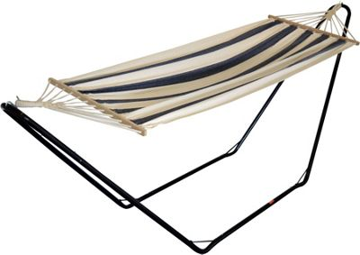 Garden / Camping Hammock Metal Stand With Blue / White Stripe Hammock Fabric