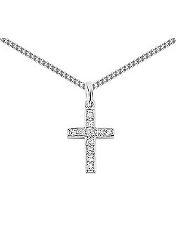 Rhodium Coated Sterling Silver CZ Cross Pendant
