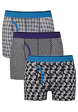 F&F 3 Pack of Geometric Print Trunks with As New Technology - Black
