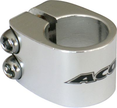 Acor BMX Twin Bolt Seat Post Clamp. 25.4mm, Silver Alloy