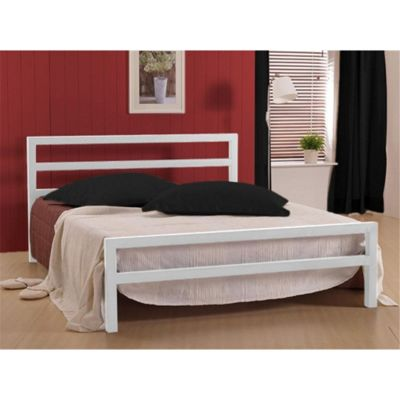 White Square Tubular Metal Bed Frame - Single 3ft