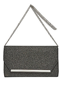 F&F Glitter Metallic Bar Envelope Clutch Bag Pewter One Size